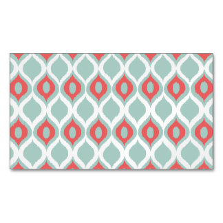 Coral and Mint Geometric Ikat Tribal Print Pattern Magnetic Business Card