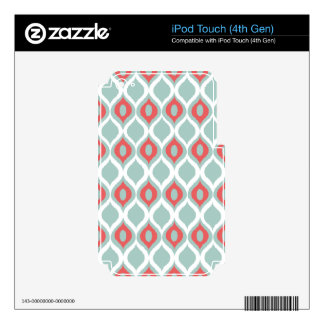 Coral and Mint Geometric Ikat Tribal Print Pattern Skin For iPod Touch 4G
