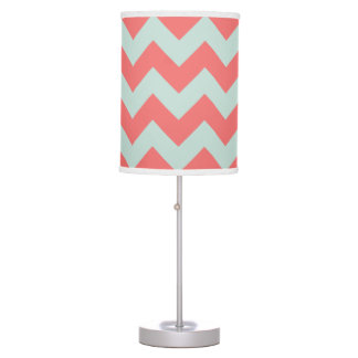 Coral and Mint Green Chevron Table Lamp