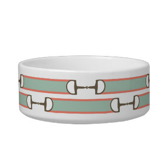 Coral and Mint Horse Bit Ribbon Pattern Bowl