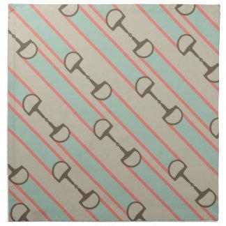 Coral and Mint Horse Bit Ribbon Pattern Cloth Napkin