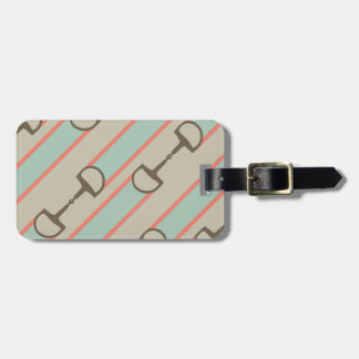 Coral and Mint Horse Bit Ribbon Pattern Luggage Tag