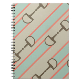 Coral and Mint Horse Bit Ribbon Pattern Notebook