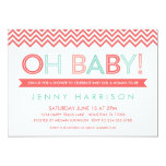 Coral and Mint Modern Chevron Baby Shower 5x7 Paper Invitation Card