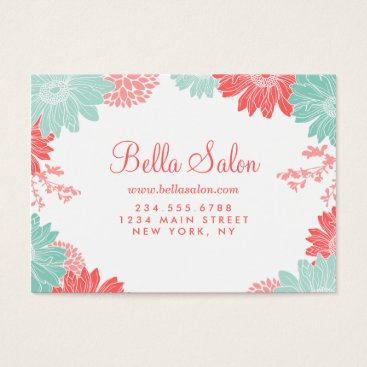 Professional Business Coral and Mint Modern Floral Business Cards