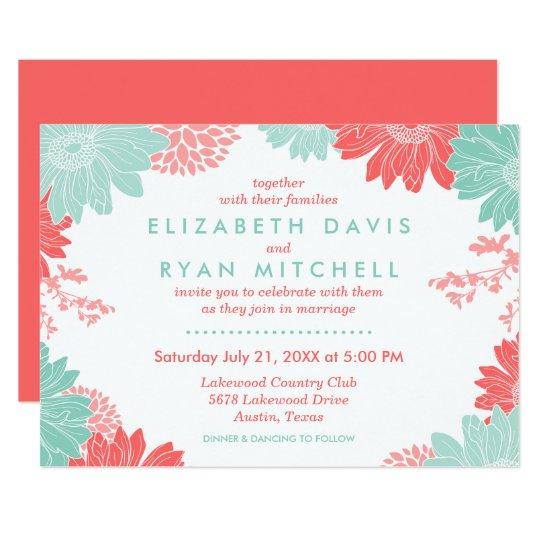 Mint Invitations Wedding: Coral And Mint Modern Floral Wedding Invitation