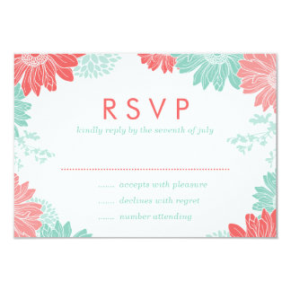 Coral and Mint Modern Floral Wedding RSVP Card