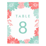 Coral and Mint Modern Floral Wedding Table Number Post Card