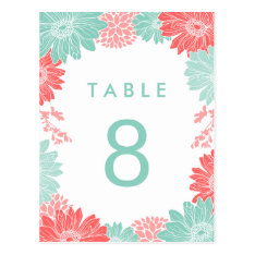 Coral And Mint Modern Floral Wedding Table Number Postcard at Zazzle