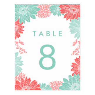 Coral and Mint Modern Floral Wedding Table Number Postcard