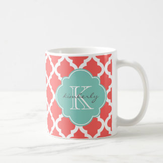 Coral and Mint Moroccan Quatrefoil Print Classic White Coffee Mug