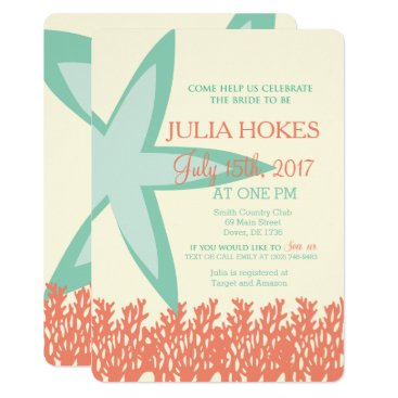 Beach Themed Coral and Mint Starfish Bridal Shower Invitation
