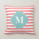 Coral and Mint Stripes Monogram Pillows