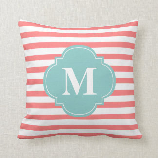 Coral and Mint Stripes Monogram Throw Pillow