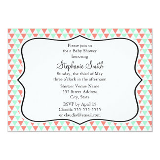 Coral and Mint Triangle Pattern Baby Shower Card