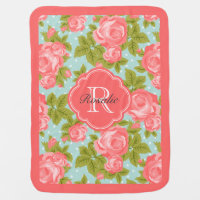 Coral and Mint Vintage Roses Monogram Stroller Blanket