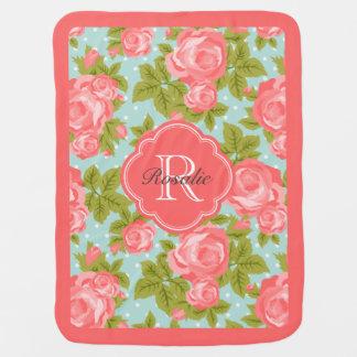 Coral and Mint Vintage Roses Monogram Stroller Blanket