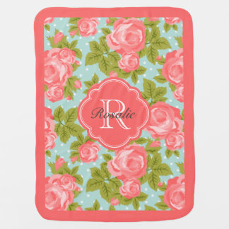 Coral and Mint Vintage Roses Monogram Receiving Blankets