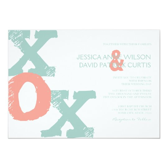 Coral And Mint Wedding Invitations: Coral And Mint XOX Wedding Invitation