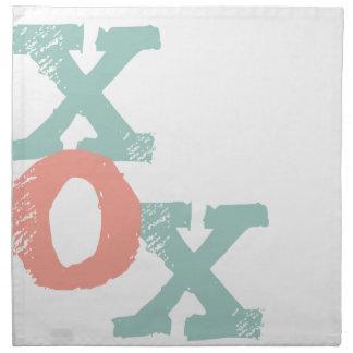 Coral and Mint XOX Wedding Cloth Napkin