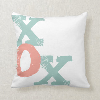 Coral and Mint XOX Wedding Throw Pillow