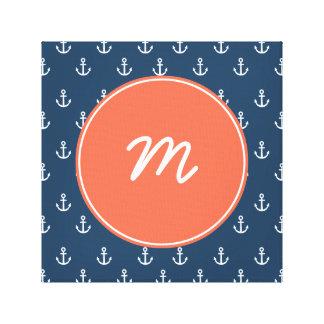 Coral and Navy Anchors Circle Monogram Canvas Print