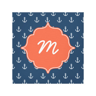 Coral and Navy Anchors Monogram Canvas Print