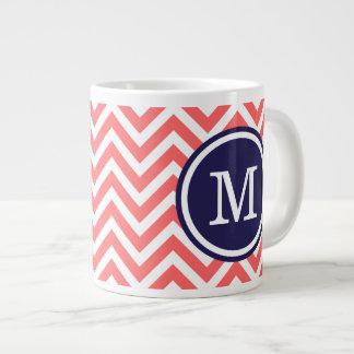 Coral and Navy Blue Chevron Custom Monogram Large Coffee Mug