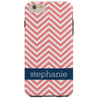 Coral and Navy Blue Chevrons Custom Name Tough iPhone 6 Plus Case