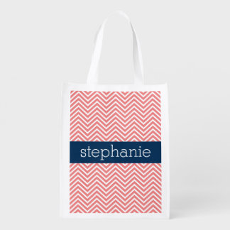 Coral and Navy Blue Chevrons Custom Name Grocery Bags