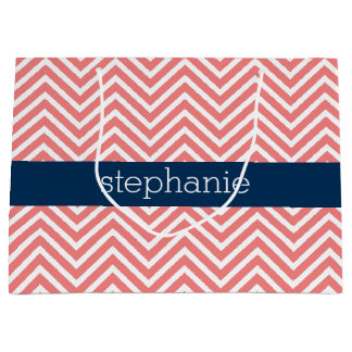 Coral and Navy Blue Chevrons Custom Name Large Gift Bag