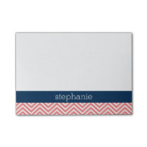 Coral and Navy Blue Chevrons Custom Name Post-it Notes