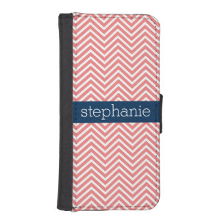 Coral and Navy Blue Chevrons Custom Name Wallet Phone Case For iPhone SE/5/5s