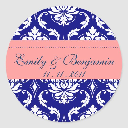 Coral and Navy Blue Damask Wedding Stickers