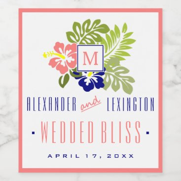 Beach Themed Coral and Navy Blue Hibiscus Monogrammed Wedding Wine Label