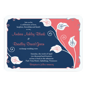 Coral and Navy Blue Leafy Vine Floral Wedding 5x7 Paper Invitation Card