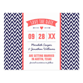 Coral and Navy Blue Modern Chevron Save the Date Postcard