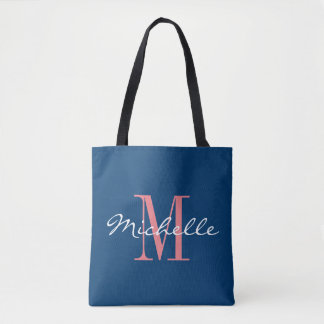 Coral and navy blue monogram wedding tote bag