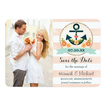 Beach Themed CORAL AND NAVY BLUE NAUTICAL ANCHOR SAVE THE DATE CARD