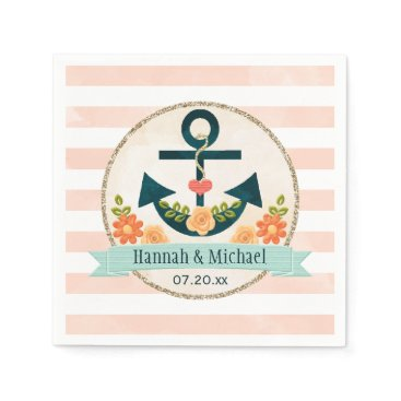 Beach Themed Coral and Navy Blue Nautical Anchor Wedding Paper Napkin