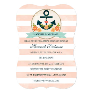 Coral and Navy Blue Nautical Bridal Shower Card