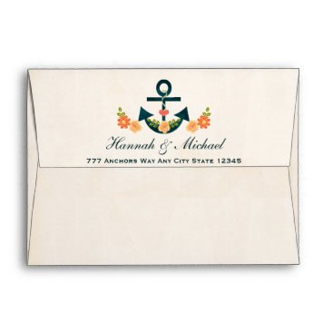 Beach Themed Coral and Navy Blue Nautical Wedding Envelope