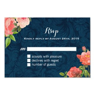 Coral and Navy Blue RSVP Cards