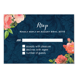 Coral and Navy Blue Shabby Chic RSVP Cards Announcements