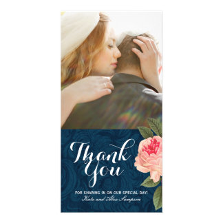 Coral and Navy Blue Thank You Photo Card (4x8)