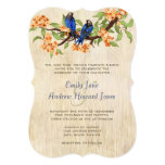 Coral and Navy Blue Vintage Love Birds Tea Stain Invites
