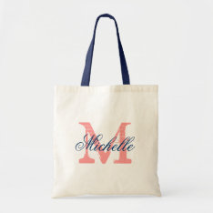Coral and navy blue wedding tote bag with monogram at Zazzle