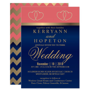 Coral and Navy Blue with Gold Hearts - Custom Invitation