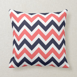 Coral and Navy Chevron Pillow
