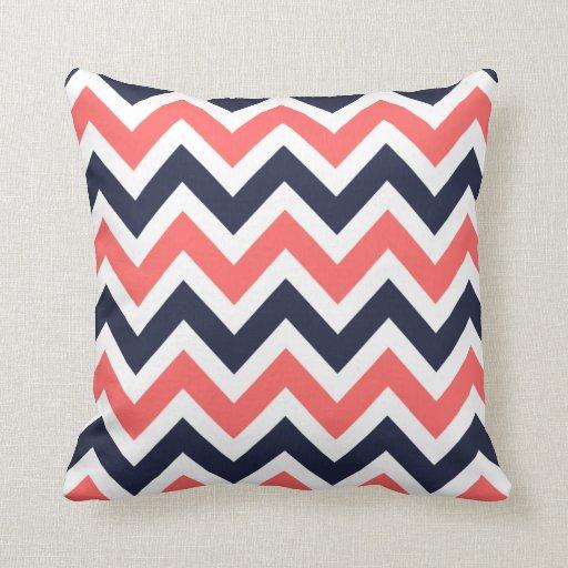 Coral and Navy Chevron Throw Pillow Zazzle
